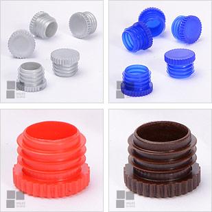 korki plastikowe żebrowe z lamelami do probówek do rur stalowych;